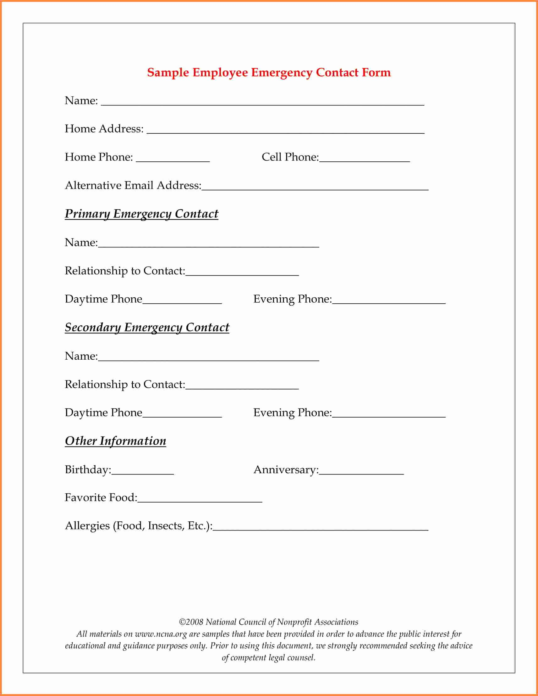 Employee Contact Information Template Unique 13 Employee Emergency Contact form Proposal Letter