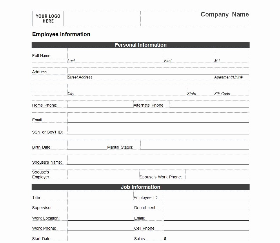 Employee Contact Information Template Unique Employee Information form
