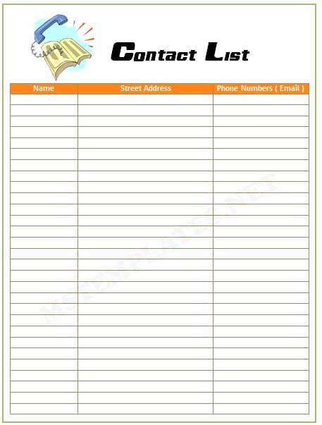 Employee Contact List Template Beautiful Contact List Template