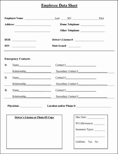 Employee Contact List Template Beautiful Employee Information Sheet Business
