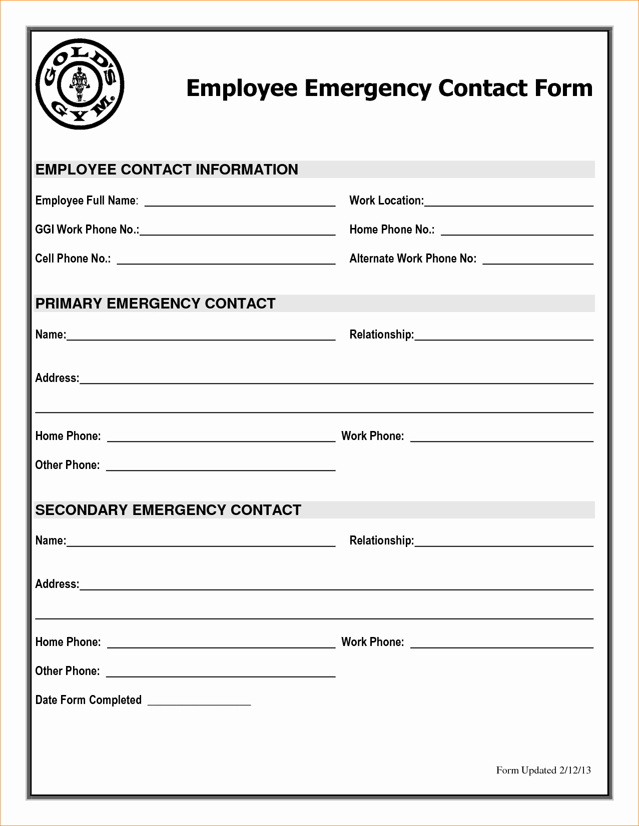 Employee Contact List Template Inspirational Employee Emergency Contact Printable form to Pin