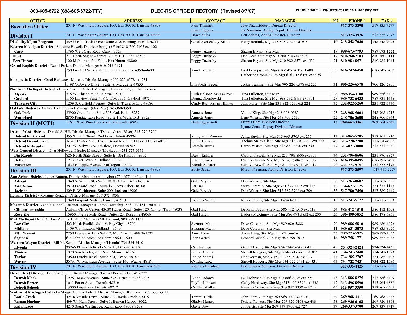 Employee Contact List Template Inspirational Employee List Template Picture – Free Contact List