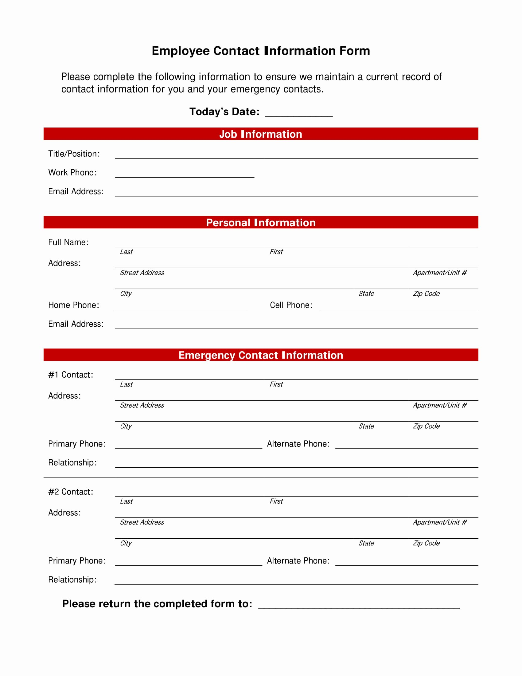 Employee Contact List Template New 10 Employee Information form Examples Pdf