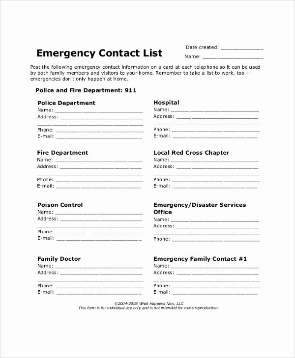 Employee Contact List Template New 40 Sample Lists