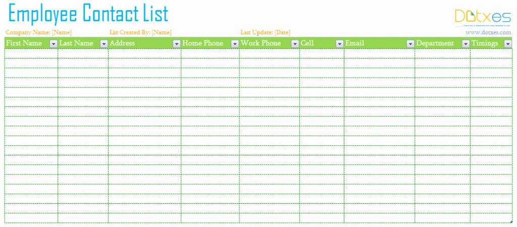 Employee Contact List Template New Employee Contact List Template Dotxes