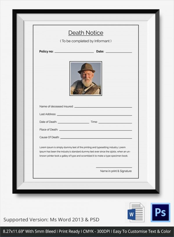Employee Death Announcement Template Inspirational Sample Death Notice 14 Documents In Pdf Psd Word