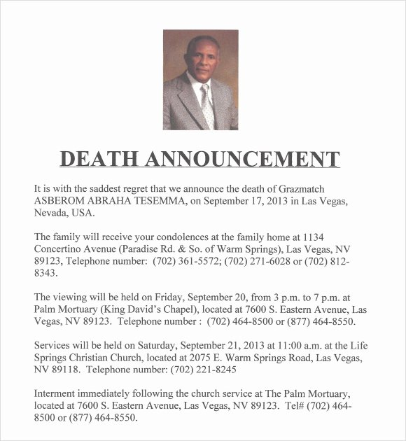 Employee Death Announcement Template New Sample Death Notice 10 Documents In Pdf Psd Word