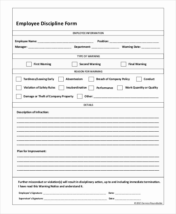 Employee Disciplinary form Template Free Beautiful Sample Employee Discipline form 10 Examples In Pdf Word