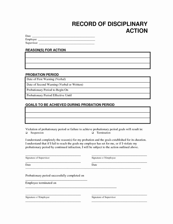 Employee Disciplinary form Template Free Elegant Record Disciplinary Action Free Office form Template by