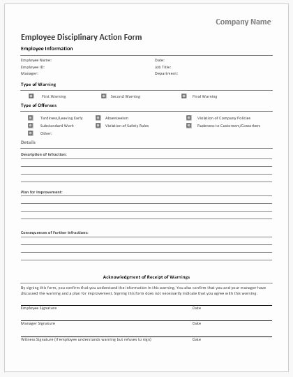 Employee Disciplinary form Template Free Lovely Employee Disciplinary Action forms for Ms Word