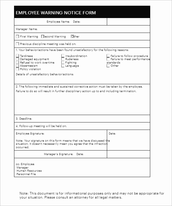 Employee Disciplinary form Template Free Luxury 26 Employee Write Up form Templates Free Word