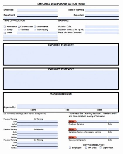 Employee Disciplinary form Template Free Luxury Download Employee Write Up forms