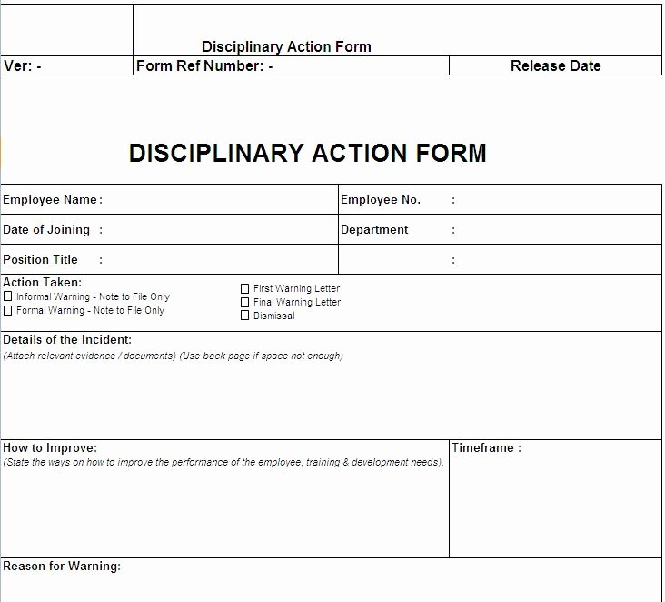 Employee Disciplinary form Template Free Unique Disciplinary Action form Free Download