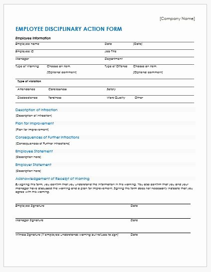 Employee Disciplinary form Template Free Unique Employee Disciplinary Action forms for Ms Word