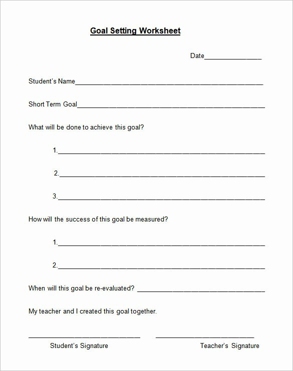 Employee Goal Setting Template Beautiful 8 Goal Setting Worksheet Templates – Free Word Pdf