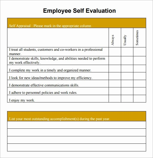 Employee Goal Setting Template Luxury 16 Sample Employee Self Evaluation form Pdf Word Pages