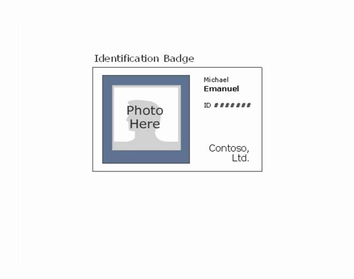 Employee Id Card Template Free Download Elegant Employee Id Badge Template Templates Resume