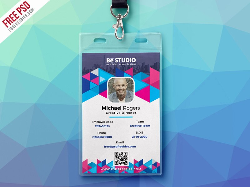 Employee Id Card Template Free Download Unique Abstract Fice Id Card Free Psd by Psd Freebies