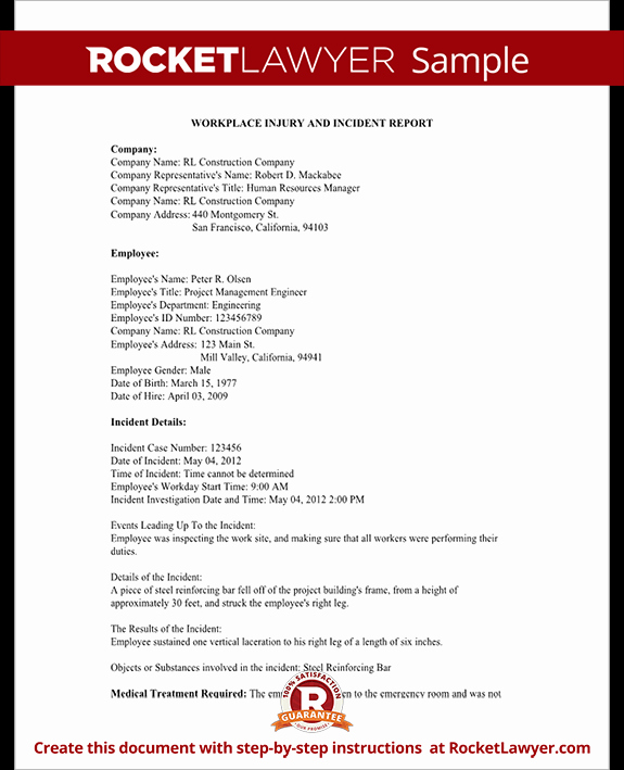 Employee Injury Report Best Of Employee Injury Report form for Osha Work Accident