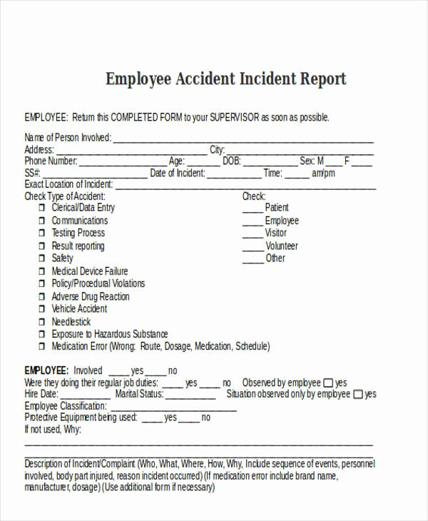 Employee Injury Report Fresh 28 Incident Report Templates In Word