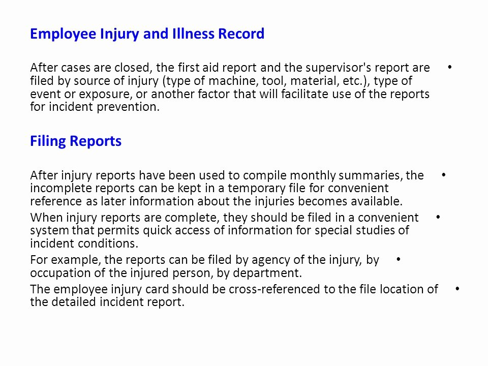 Employee Injury Report Luxury Injury & Illness Record Keeping and Incidence Rates Ppt