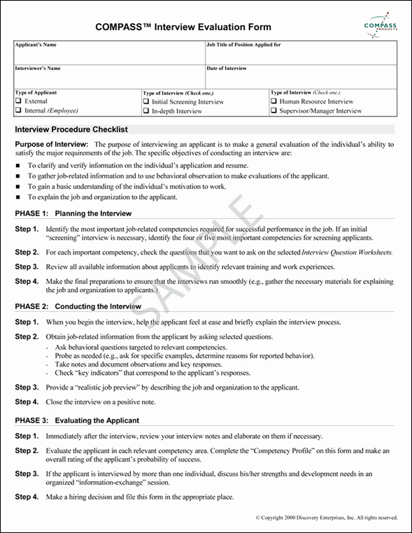 Employee Interview Evaluation form Beautiful Job Interview Evaluation form