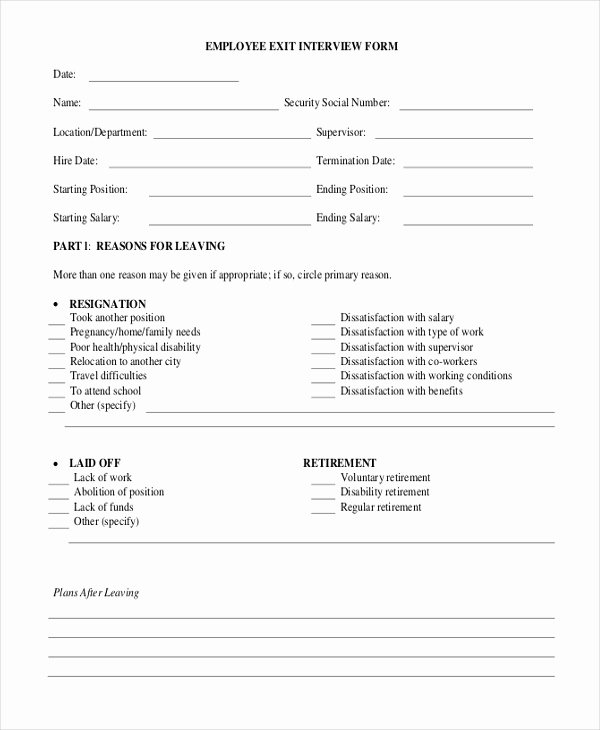 Employee Interview Evaluation form Beautiful Sample Exit Interview form 10 Free Documents In Doc Pdf