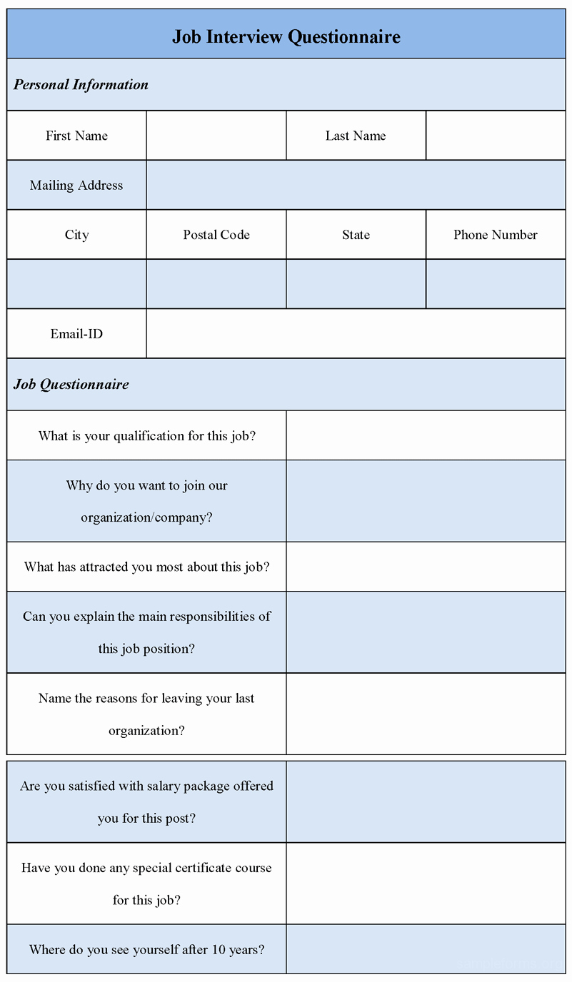 Employee Interview Evaluation form Elegant Job Interview Questionnaire form Sample forms