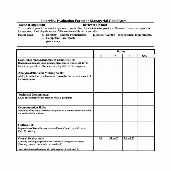 Employee Interview Evaluation form Fresh Interview Evaluation form 14 Download Free Documents In