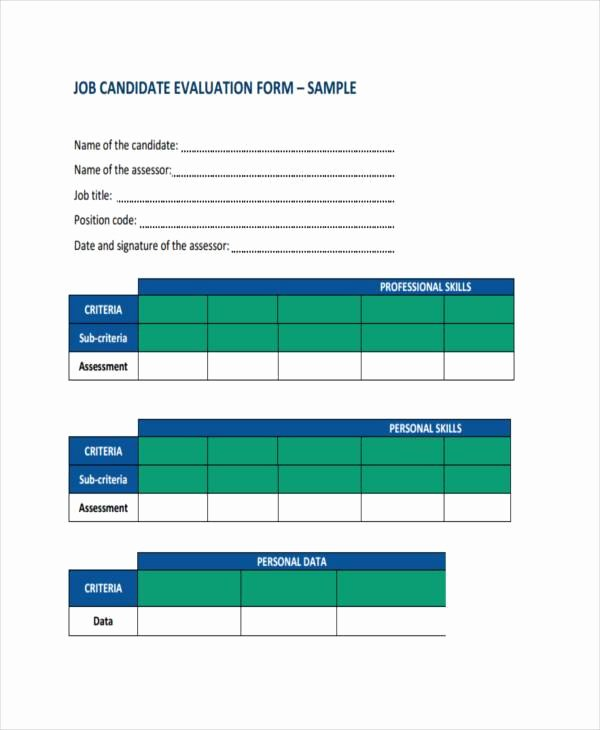 Employee Interview Evaluation form Inspirational 9 Job Evaluation form Samples Free Sample Example