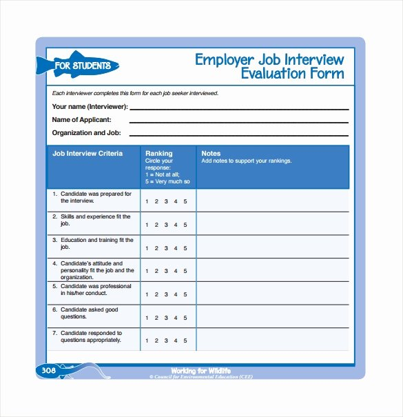 Employee Interview Evaluation form Lovely Interview Evaluation form 12 Download Free Documents In