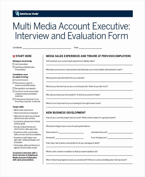 Employee Interview Evaluation form New Sample Interview Evaluation form 11 Free Documents In