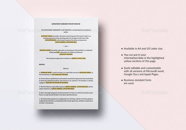 Employee Key Agreement form Awesome Sample Contract Employee Agreement 19 Examples In Word