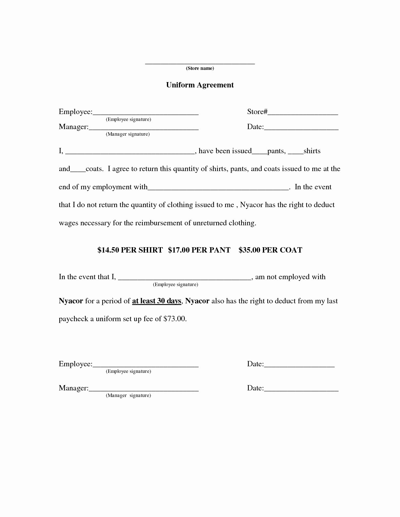 Employee Key Agreement form Beautiful 50 Special Uniform Employee Agreement Uo G