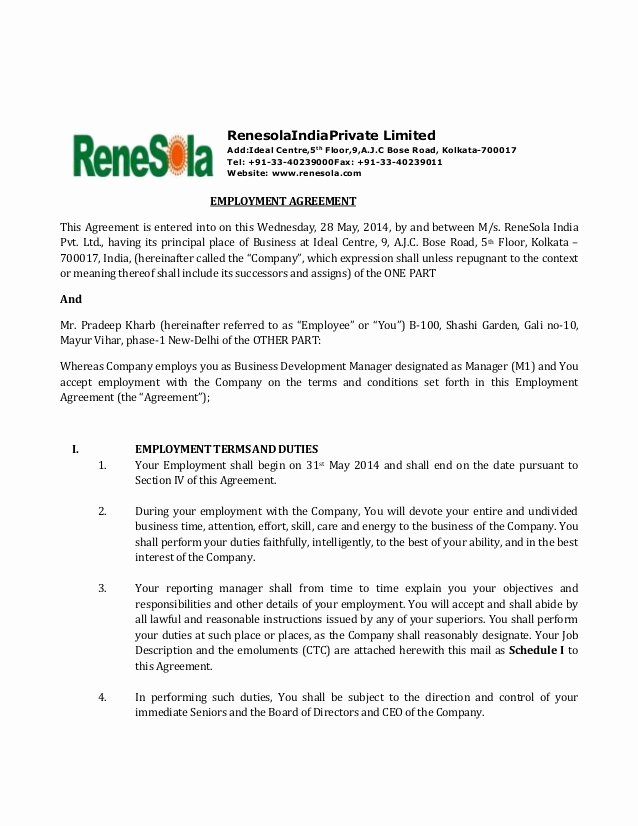 Employee Key Agreement form Beautiful Renesola India Employment Agreement