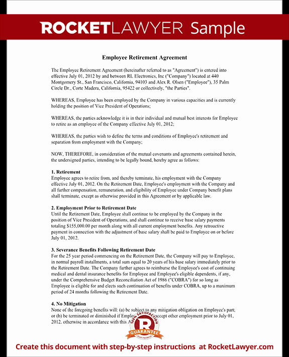 Employee Key Agreement form Best Of Employee Retirement