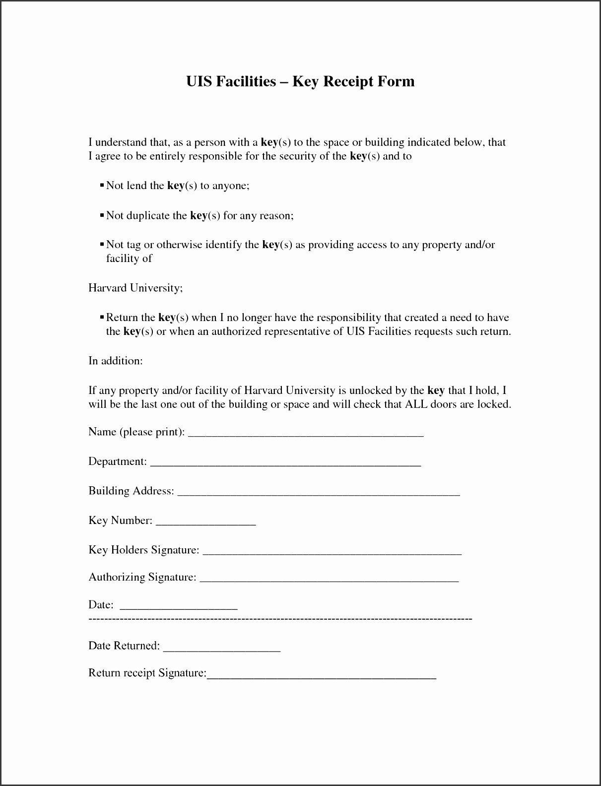 Employee Key Agreement form Lovely 10 Free Printable Receipt form Sampletemplatess