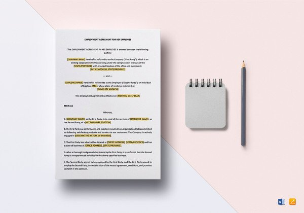 Employee Key Agreement form New 24 Employee Agreement Templates – Word Pdf Apple Pages