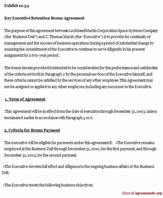 Employee Key Agreement form New Employee Retention Bonus Agreement Sample Templates