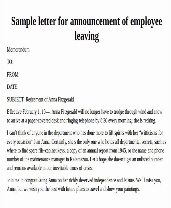Employee Leaving Announcement Letter Samples Elegant 38 Reference Letter format Samples
