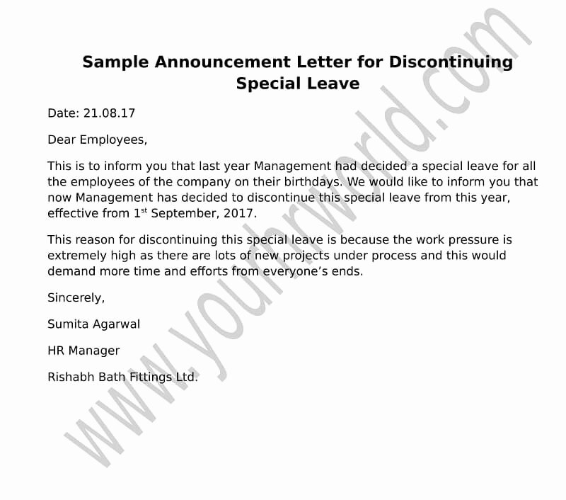 Employee Leaving Announcement Letter Samples Elegant Announcement Letter format for Discontinuing Special Leave