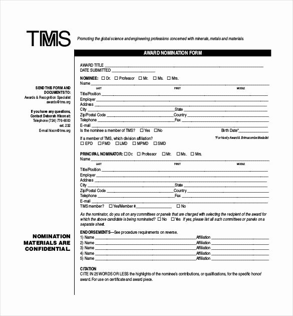 Employee Of the Month Nomination form Template Best Of Words for Awards Recognition