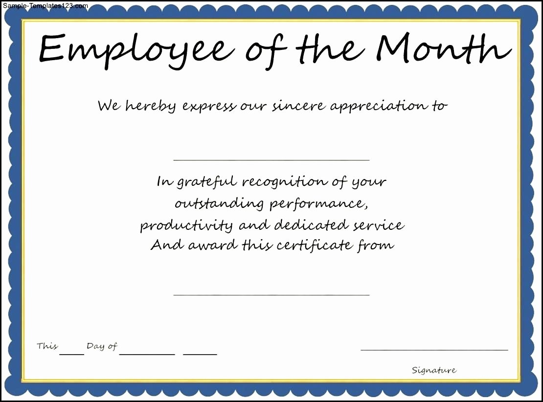 Employee Of the Month Nomination form Template Elegant Interesting Certificate Template Example for Employee Of