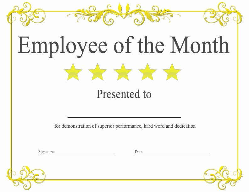 Employee Of the Month Nomination form Template Inspirational 37 Awesome Award and Certificate Design Templates for