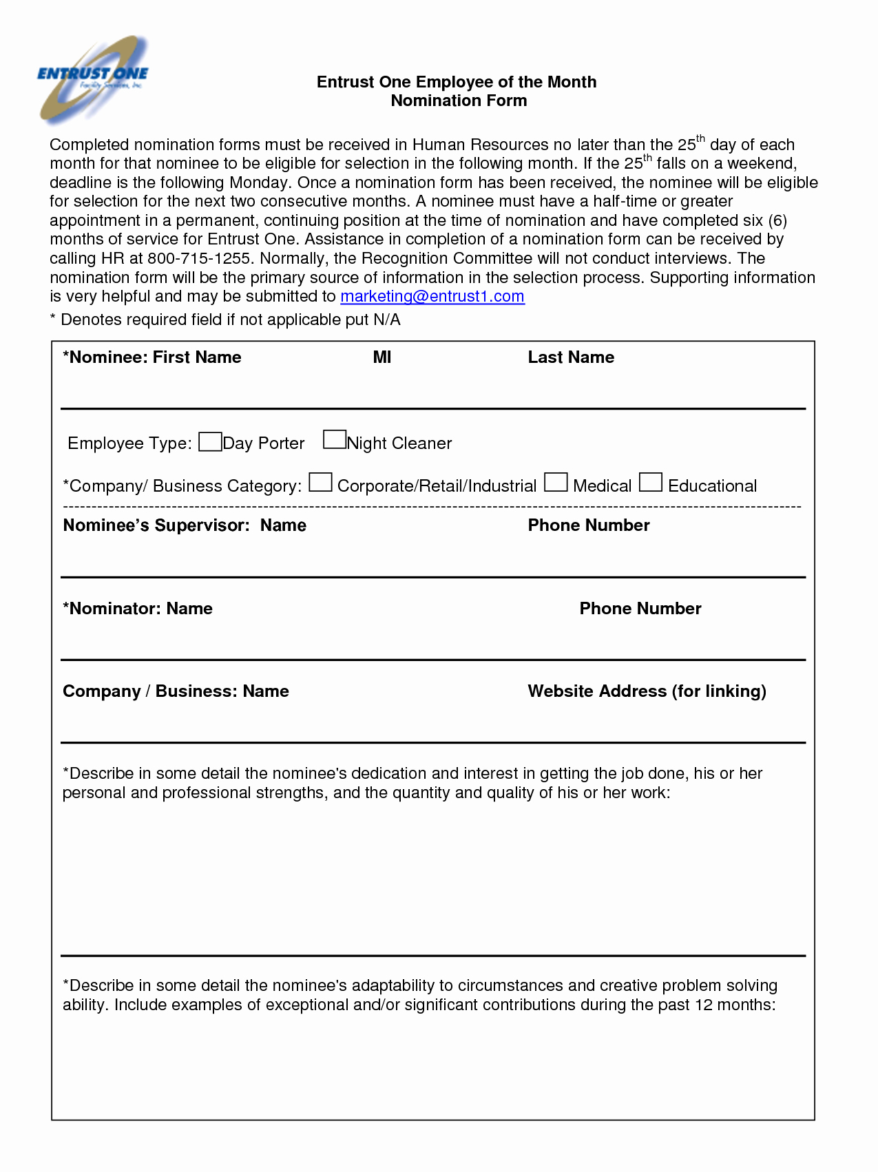 Employee Of the Month Nomination form Template Lovely Best S Of Employee Recognition Nomination Letter