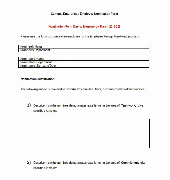 Employee Of the Month Nomination form Template Luxury Employee the Year Nomination Letter Sample Letter Of