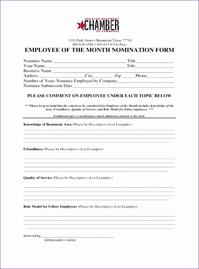 Employee Of the Month Nomination form Template Unique 11 Pareto Chart Template Excel Exceltemplates