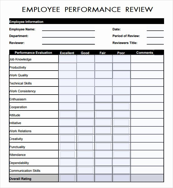 Employee Performance Evaluation form Excel Awesome Sample Employee Review Template 7 Free Documents