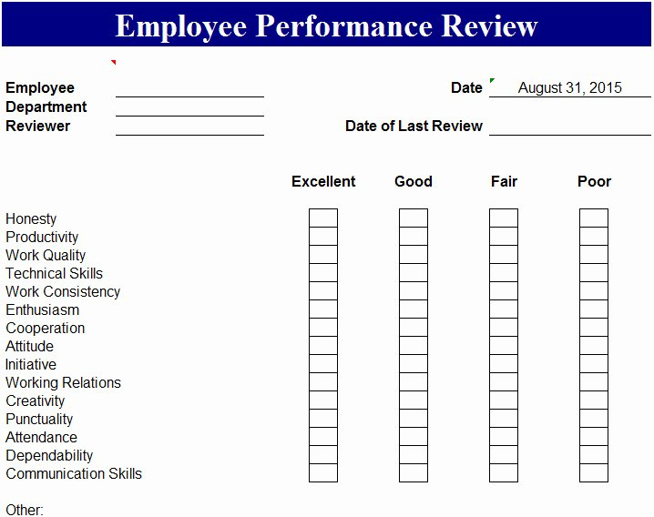 Employee Performance Evaluation form Excel Beautiful Employee Performance Review Template My Excel Templates