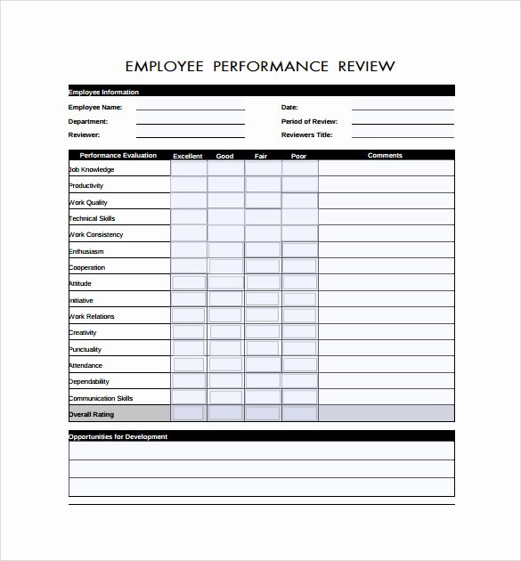 Employee Performance Evaluation form Excel Best Of Employee Review forms 5 Download Free Documents In Pdf